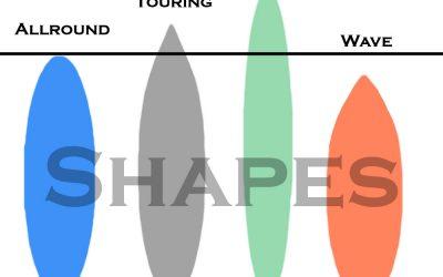 sup board arten und shapes